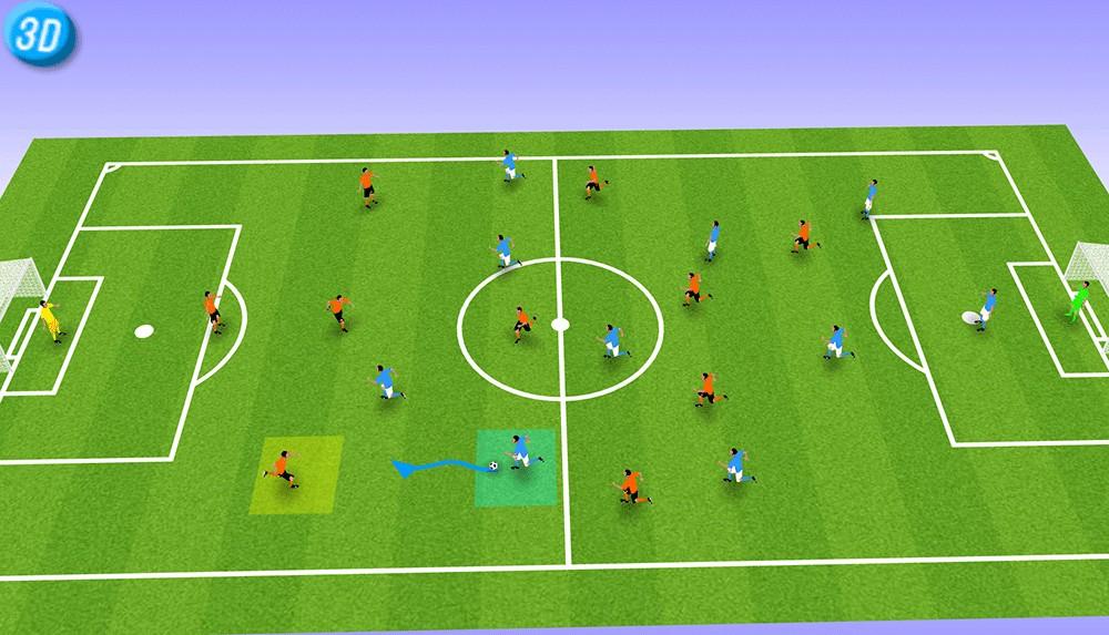 环节1   蓝队球员在控球,A.OK球队后卫及时封堵路线并成功抢断.