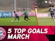 拜仁3月份训练五佳球:里贝里零角度磕球入网
