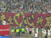 虎!帕托王晓龙登高台击鼓与球迷互动战吼