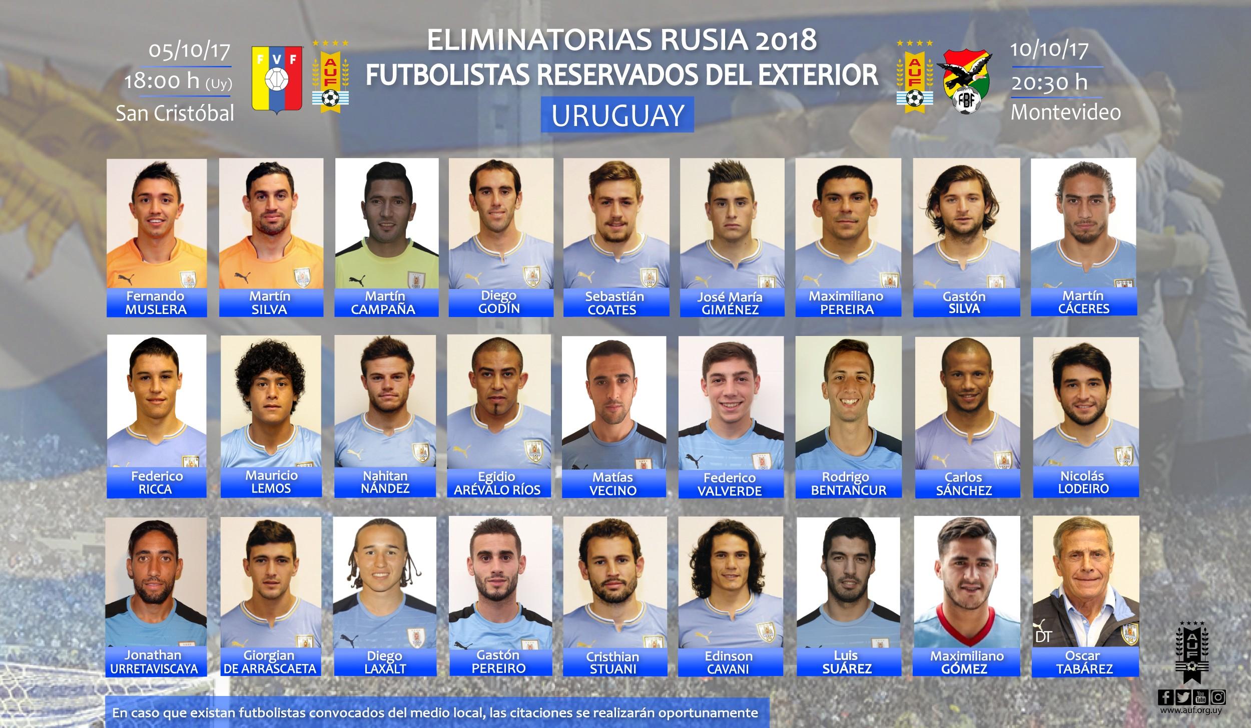 备战世预赛,乌拉圭发海外名单 - 乌拉圭|苏亚雷