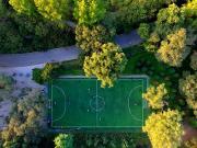图集:航拍沈阳最美足球场,绿树环绕中享受足球