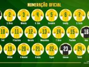 巴西队公布战俄罗斯球衣号码:矿工中场10号