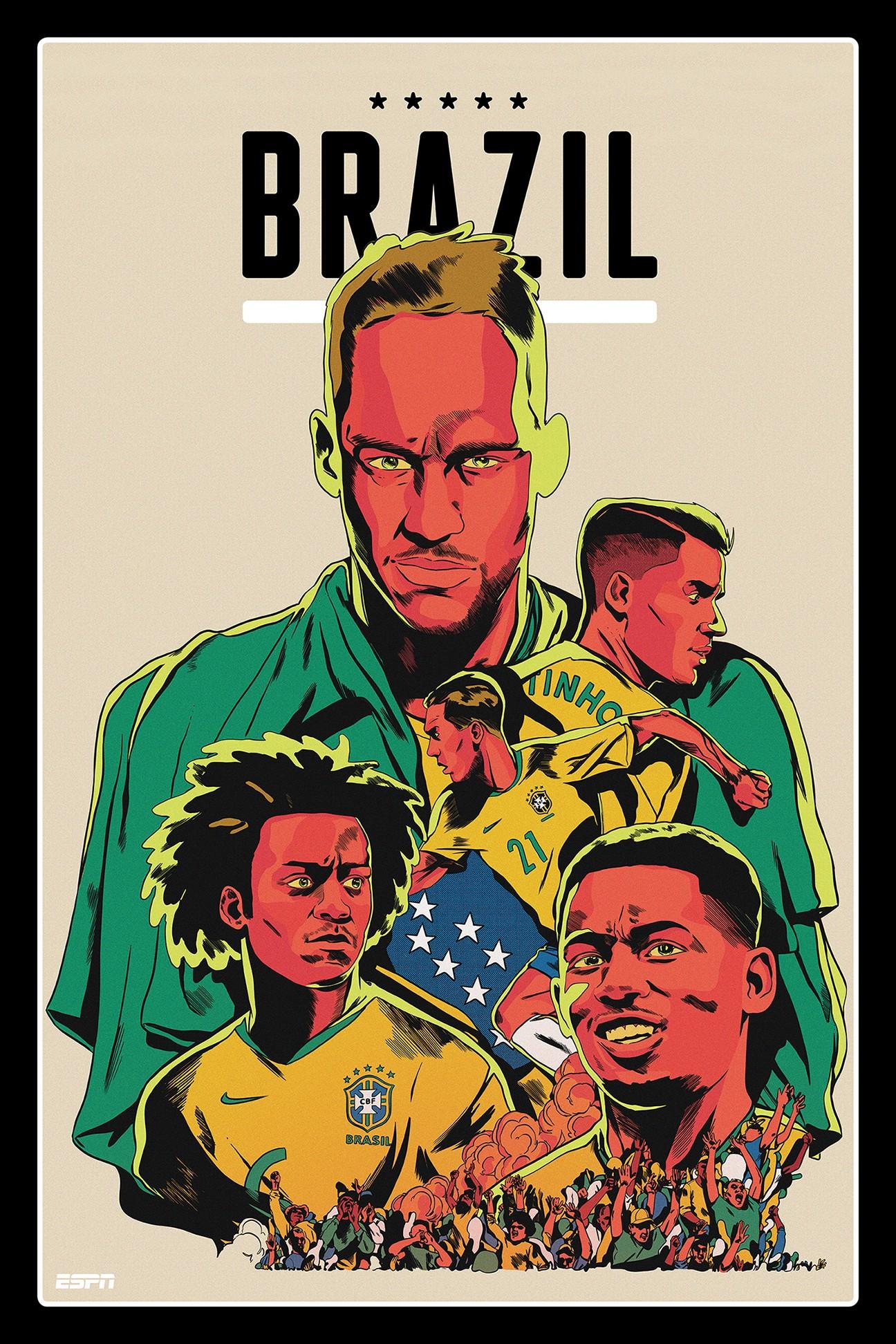 图集:espn发布世界杯球队海报,顶级插画师设计质感十足