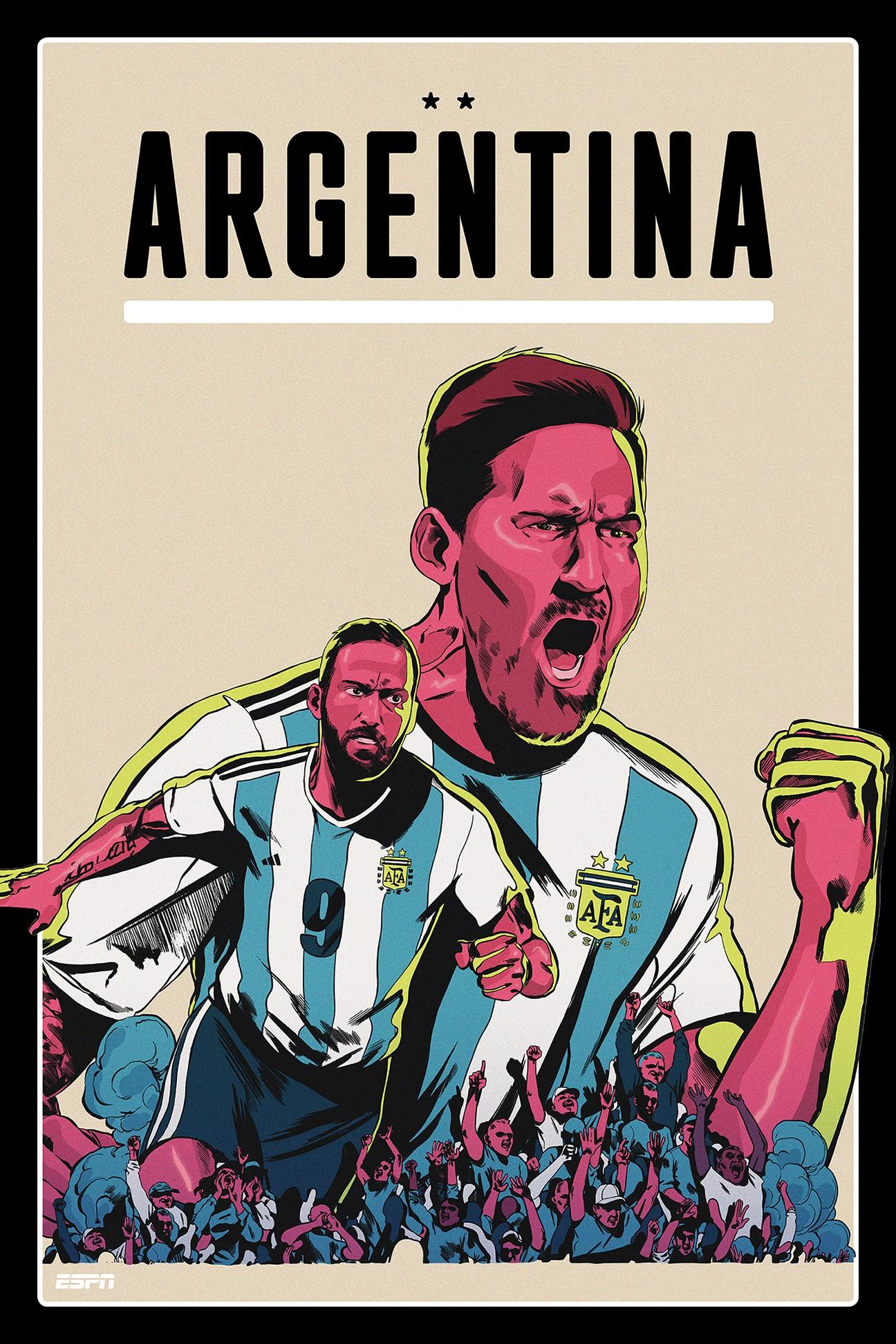 espn发布世界杯球队海报,顶级插画师设计质感十足