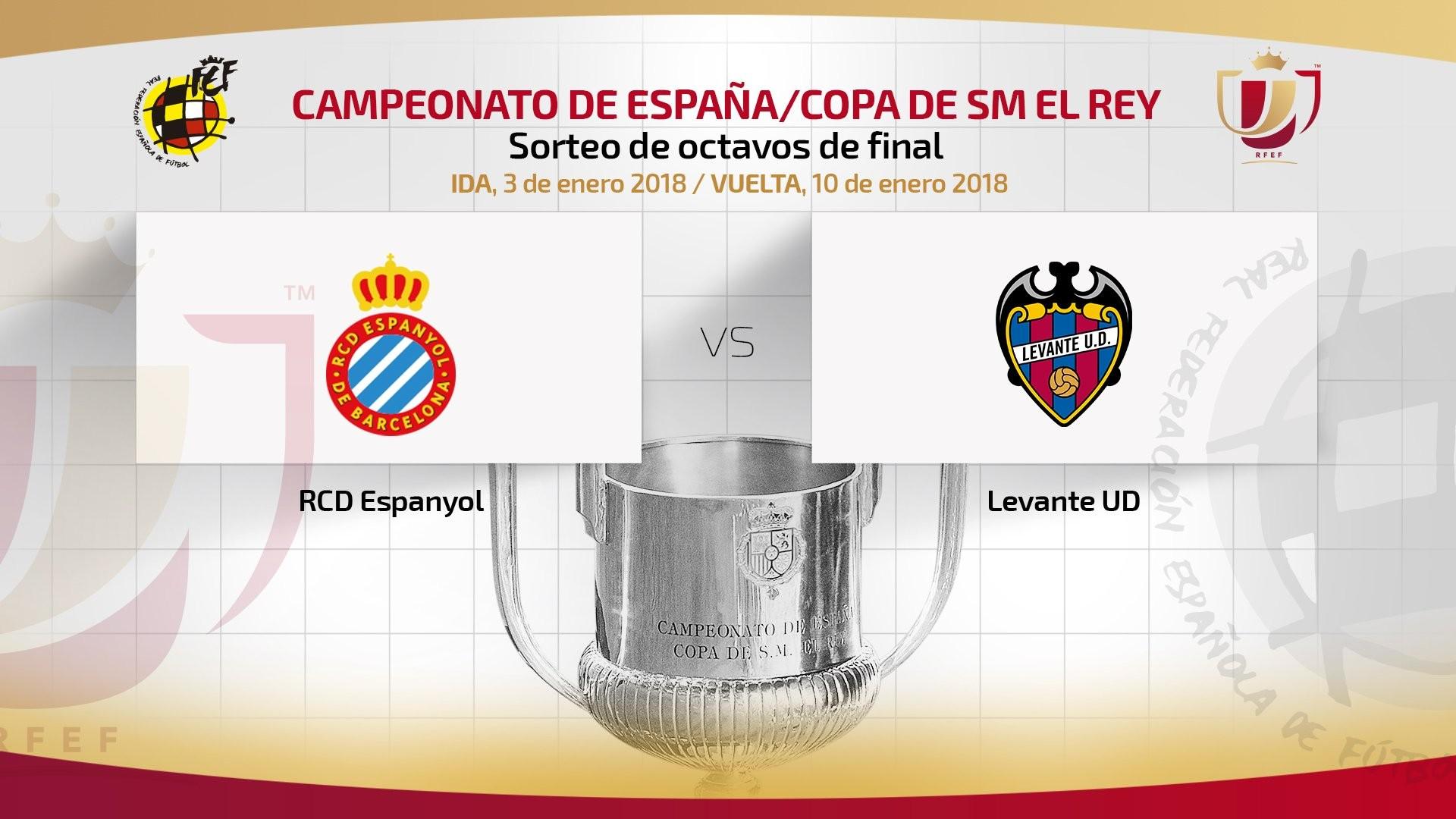 国王杯16强对阵出炉,西班牙人对手是莱万特 -