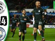 英超英文集锦:斯旺西0-4曼城,席尔瓦、阿圭罗、丁丁破门
