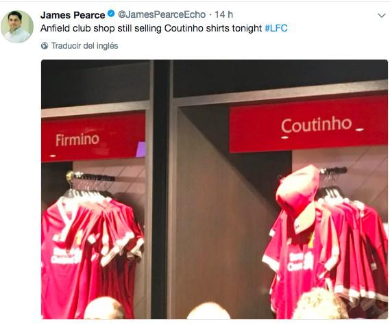 利物浦官方商店撤掉库蒂尼奥球衣?回声报记者辟谣