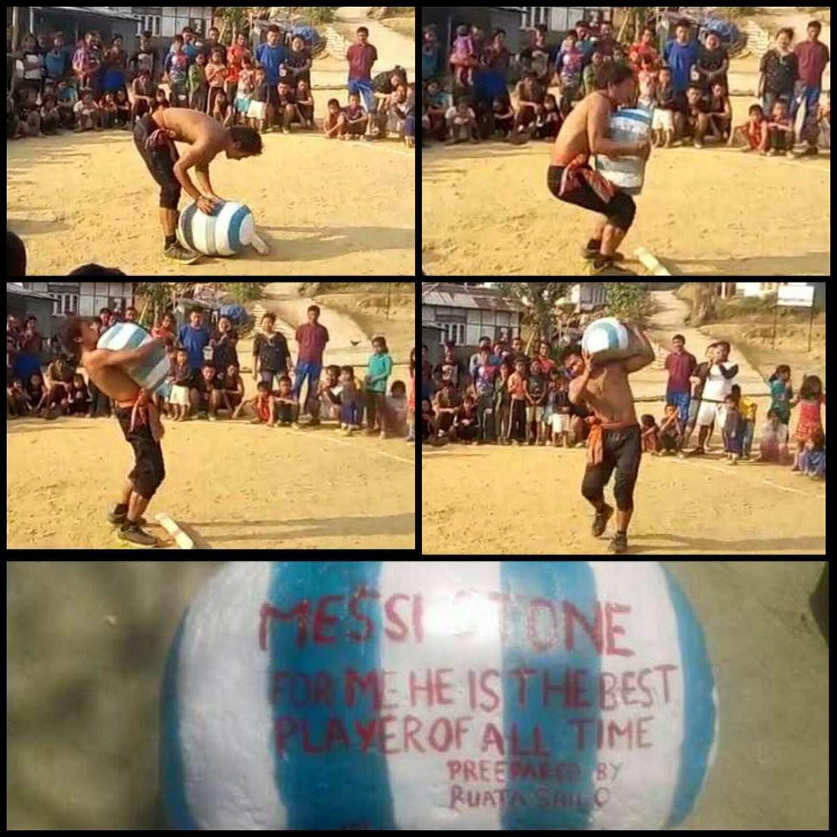 印度小伙制成重达100公斤梅西石,该石全村只有他能举起来