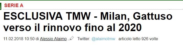 全市场:米兰考虑和加图索续约