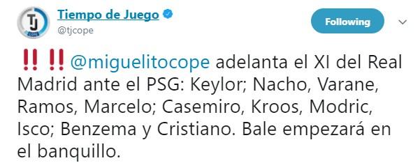西班牙记者提前泄露皇马首发:贝尔替补,伊斯科首发