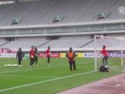 赛前踩场训练,上港充满斗志准备迎战明天的对手墨尔本胜利