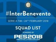 国际米兰vs贝内文托大名单:伊卡尔迪复出