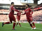 利物浦4-1西汉姆暂登第2,萨拉赫传射,菲尔米诺、马内建功