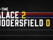 全场比赛结束,水晶宫2-0哈德斯菲尔德,汤姆金斯、米利...