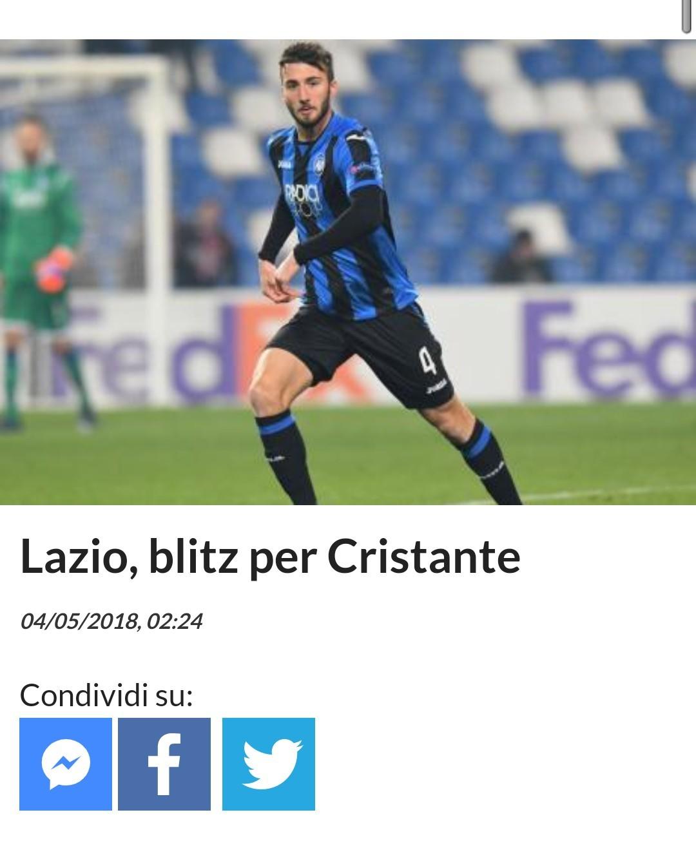 罗马体育报:拉齐奥要买克里斯坦特