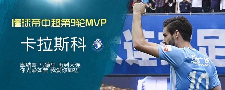 懂球帝中超第9轮MVP:卡拉斯科