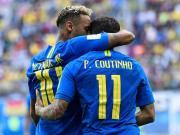 巴西2-0哥斯达黎加,库蒂尼奥、内马尔补时连入两球
