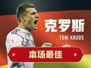懂球帝评选丨德国2-1瑞典全场之星:托尼-克罗斯