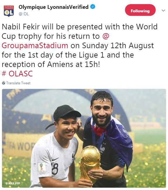 里昂宣布费基尔将在8月12日展示金牌,届时英超