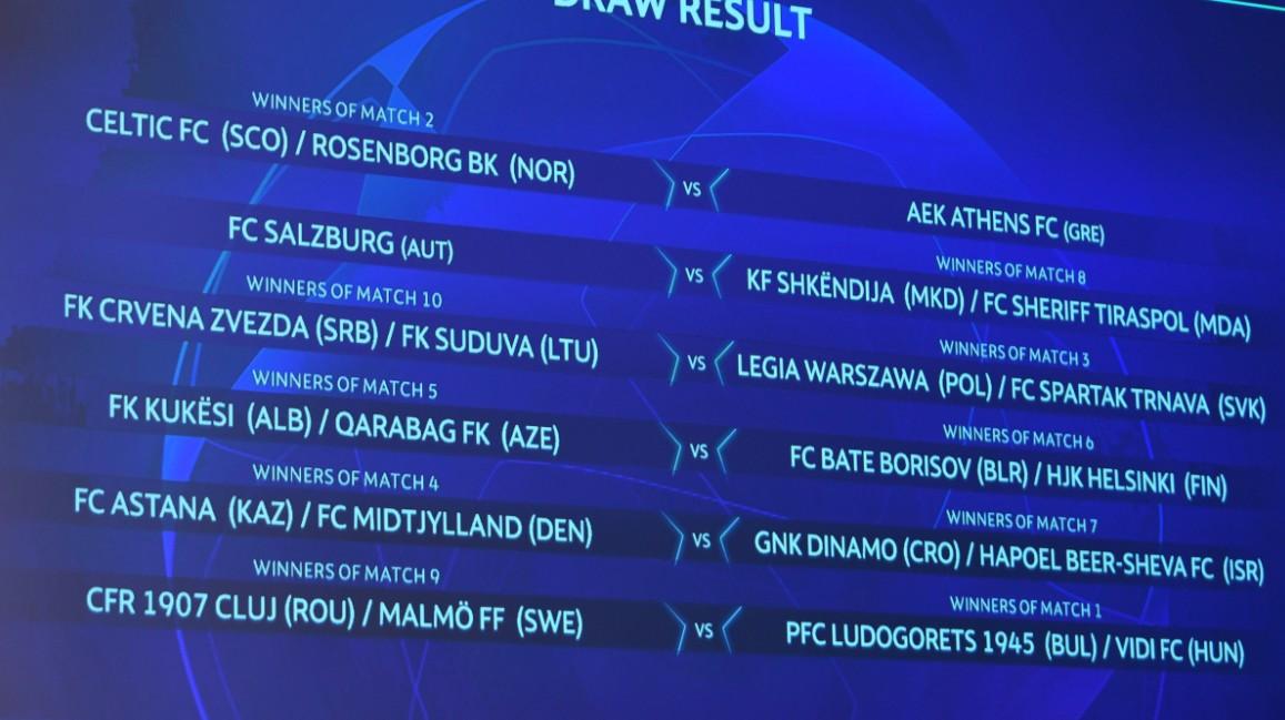 欧冠资格赛第三轮抽签出炉:本菲卡对阵费内巴
