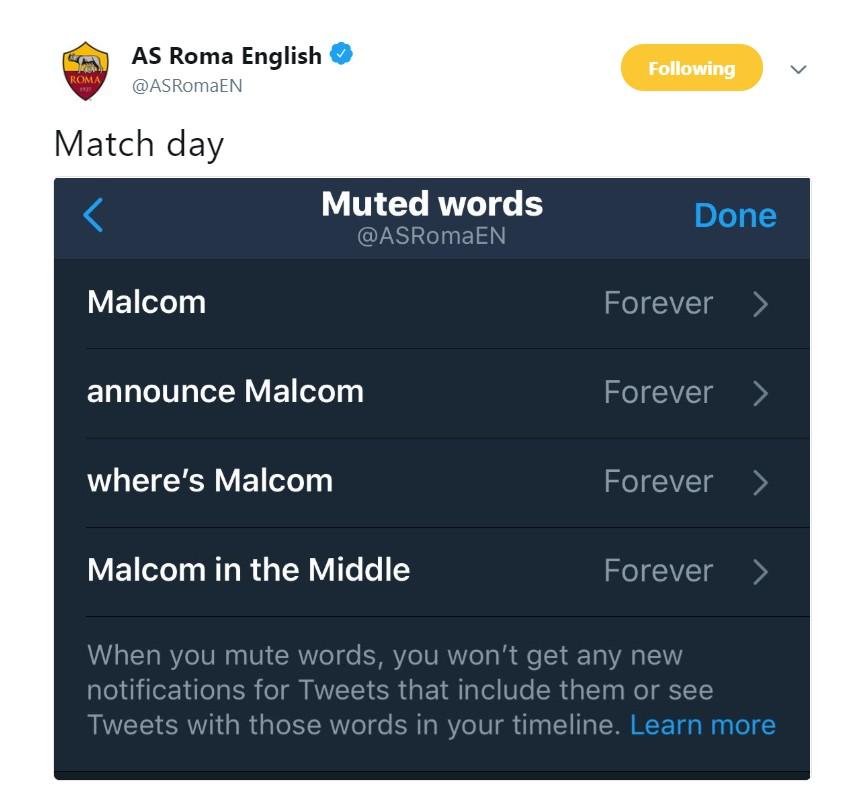 战巴萨,罗马官推屏蔽马尔科姆