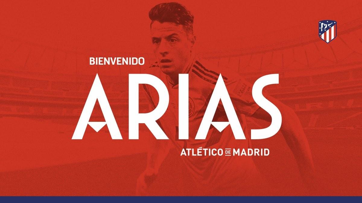 官方:马德里竞技签下阿里亚斯