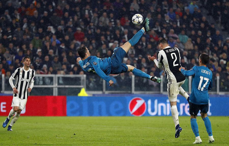 官方:C罗对阵尤文的倒钩获欧足联赛季最佳进球