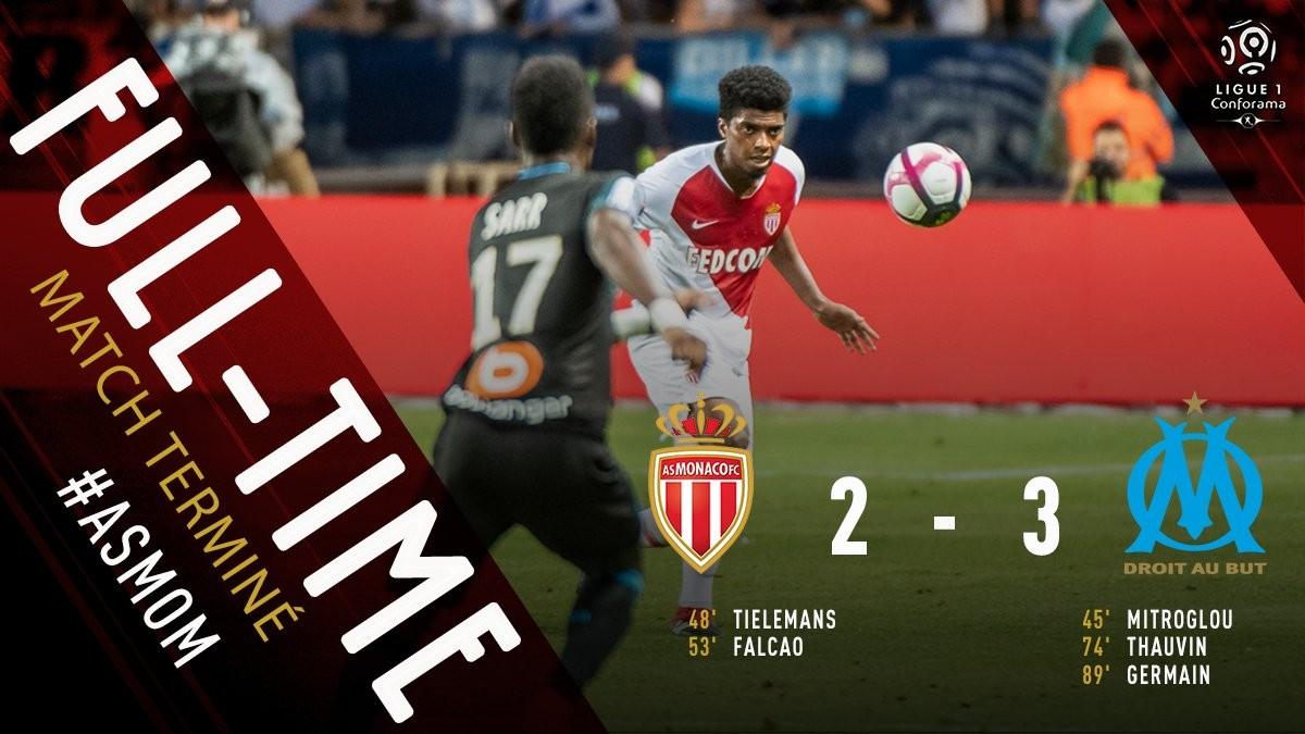 比赛结束,全场比分2-3,摩纳哥最终以一球惜败