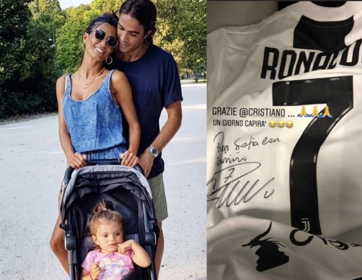 满满的父爱,马特里把C罗签名球衣送给宝贝女儿