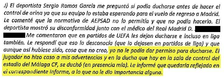 足球解密披露新文件:拉莫斯尿检前淋浴未得到检测人员许可