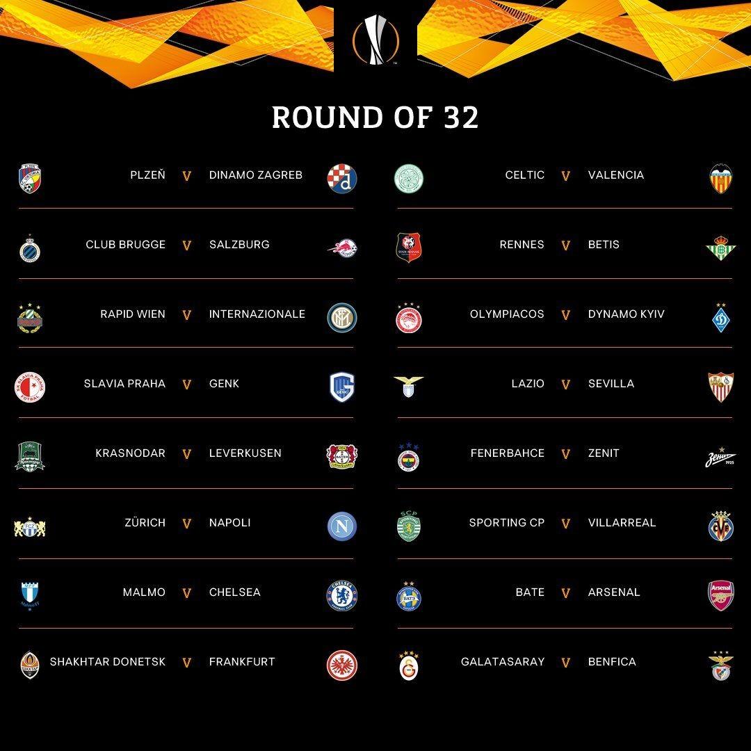 欧联杯116决赛对阵:切尔西战马尔默阿森纳对阵