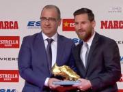 历史第一人!梅西正式领取个人第五座欧洲金靴奖