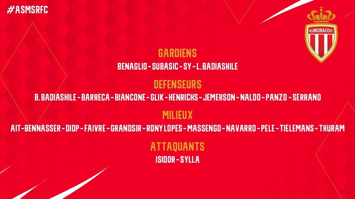 苏巴西奇回归!摩纳哥公布法联杯8强战大名单